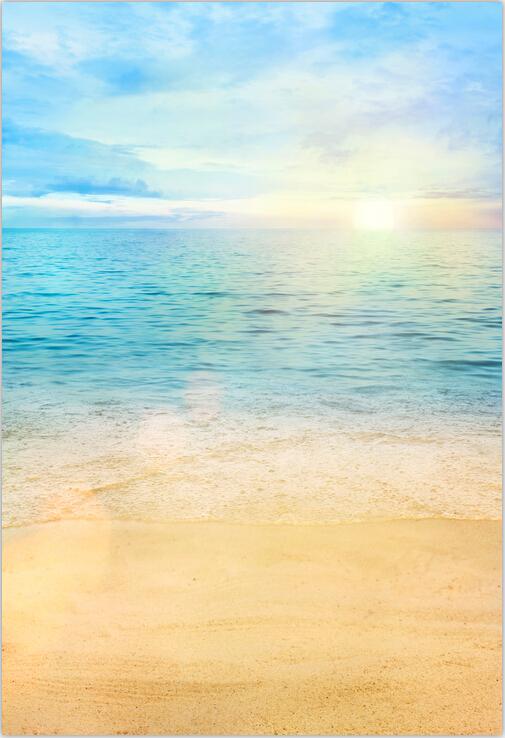 5x7ft sunset sky light blue sea island wave sand beach