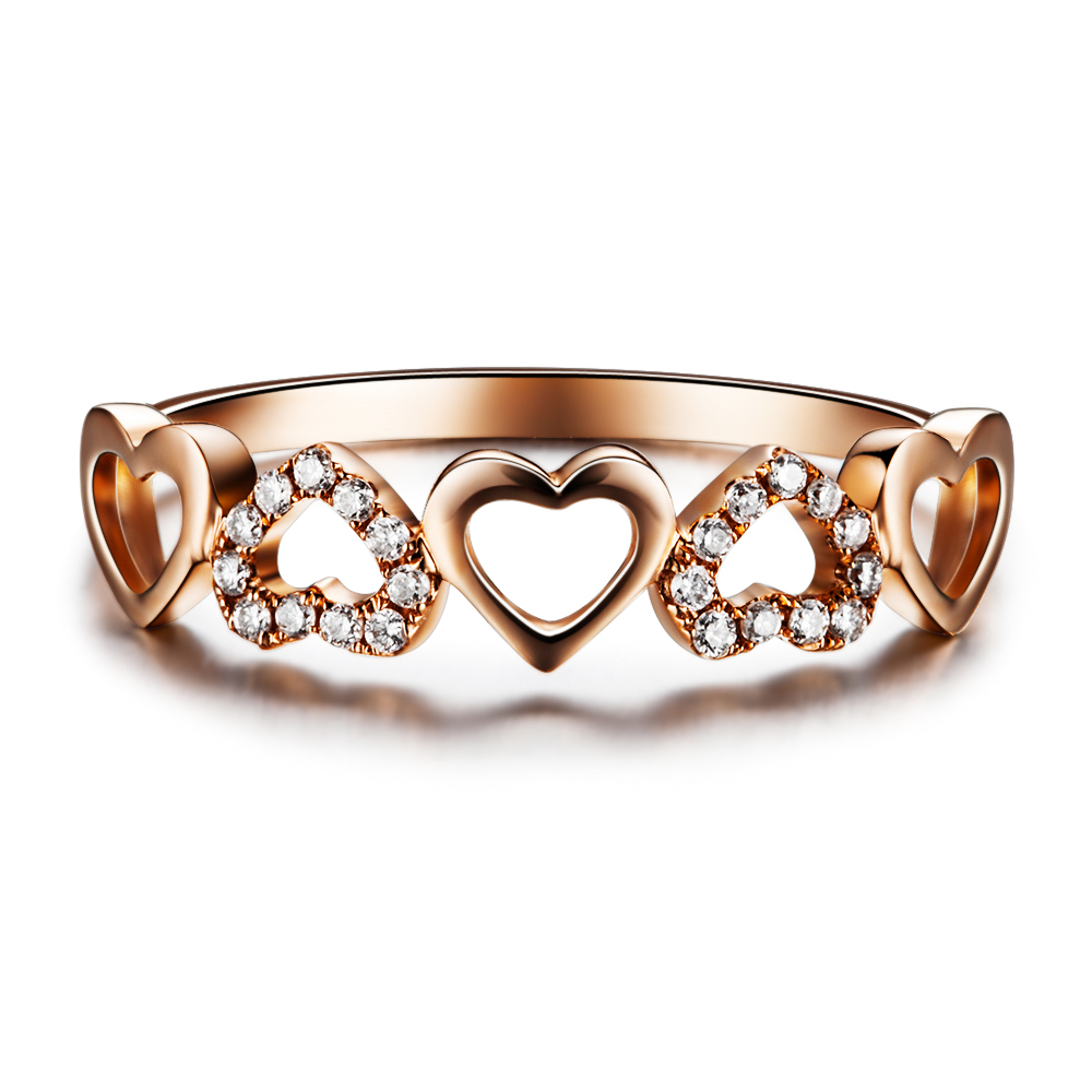 Heart Shape Diamond Bridal Ring GVBORI Diamond 18K Rose Gold Engagement Weddi