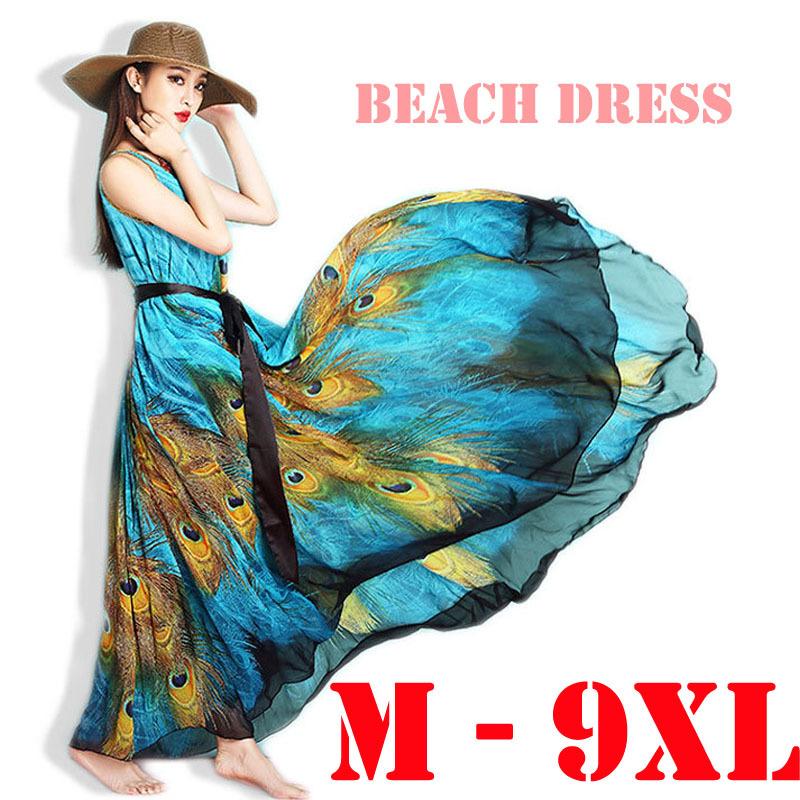 Plus Size 6XL 9XL Summer Style Women Blue Peacock Feather Printed Long Chiffon Dresses Bohemia Boho Beach Maxi Dresses Sundress(China (Mainland))