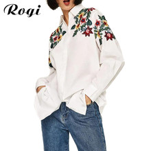 Buy Rogi 2017 Women Embroidery Floral Blouse Long Sleeve Turn-Dowm Collar White Blue Floral Shirt OL Fashion Casual Tops Blusas for $11.34 in AliExpress store