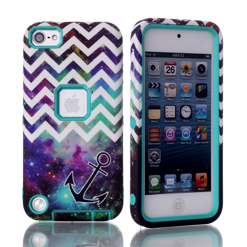For Apple iPod Touch 5 Case 3 In 1 Stripe anchor Hybrid Rubber + Hard Back Case Cover+ 1pcs of Screen Protector(China (Mainland))