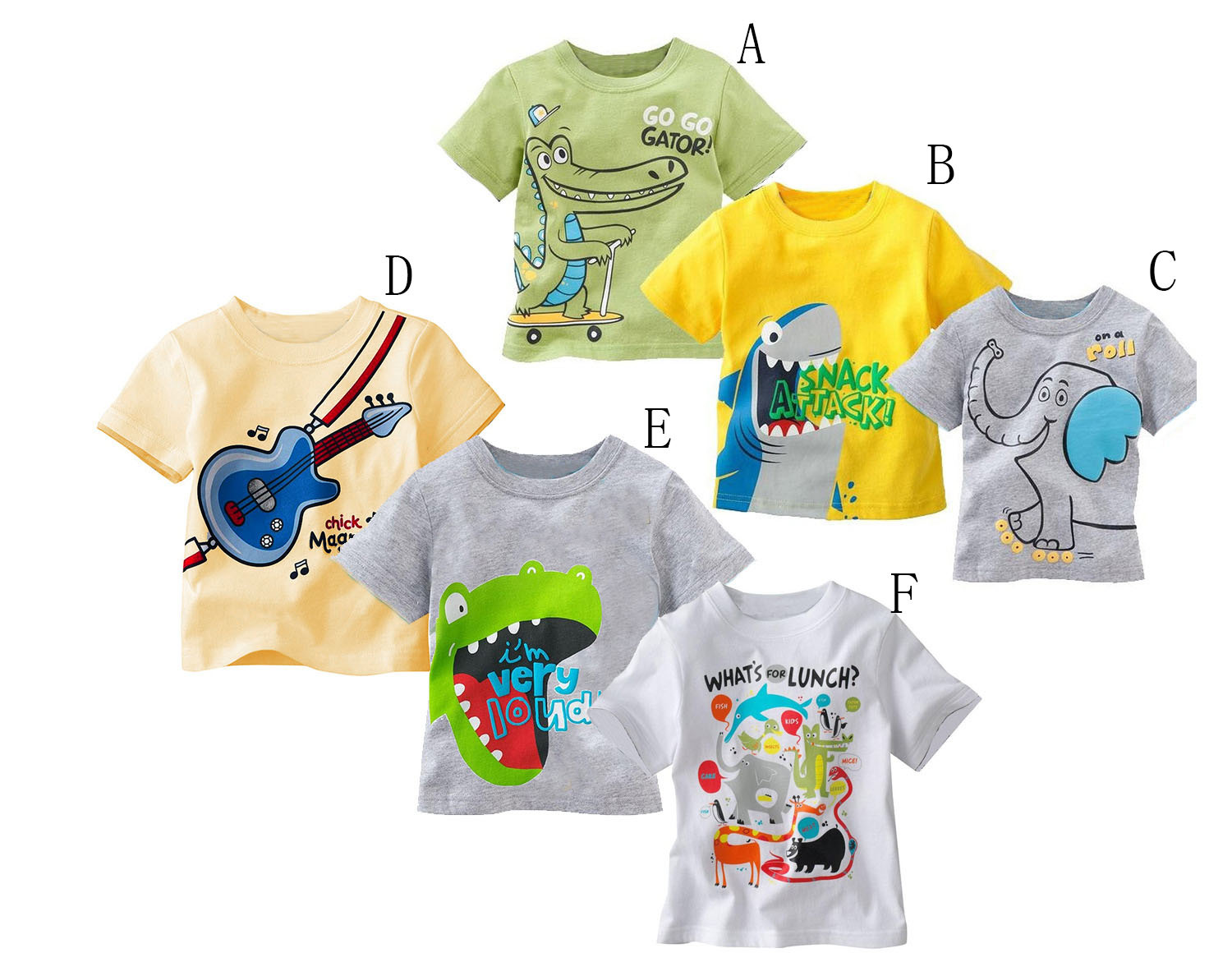 Cartoon Character Elephant Crocodile Baby Boys Clothes, Short Sleeve Summer Cotton Breathable Soft Infant T Shirts(China (Mainland))