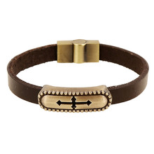Vintage Retro Pulseira Homens Masculina Couro Male Cool Leather Long Cross Bracelet Biker Mens Steampunk Leather Jewellery