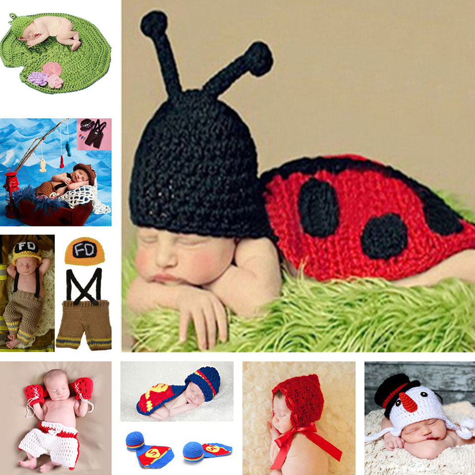 Lovely Ladybug Design Baby Crochet Photo Props Infant Baby Crochet Animal Hats Hand Knitted Costume 0-12M 1set MZS-14038(China (Mainland))