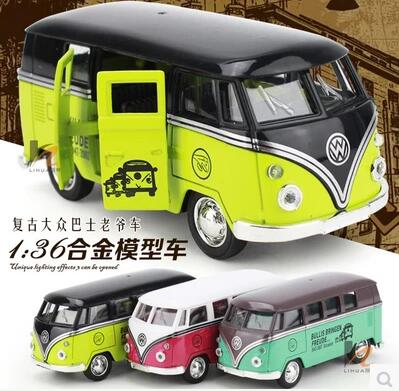 New VW Bus Retro classic cars T1 T2 1:36 11*5*5cm Volkswagen boy gift Collection pull back(China (Mainland))