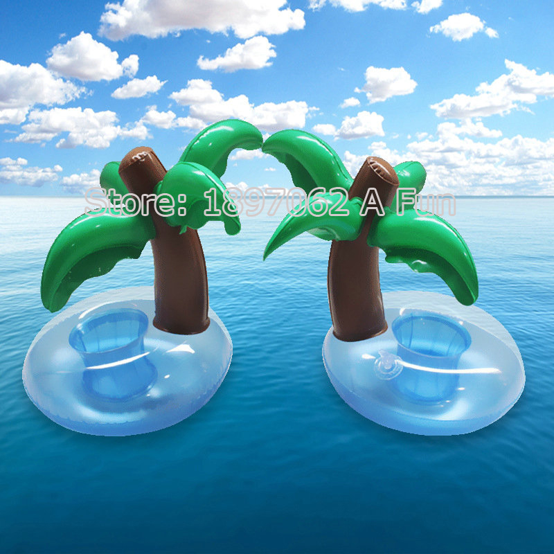 2016 Summer Cute Drink Can Holder PVC Inflatable Floating Coconut Trees Swimming Pool Bathroom Beach Water Drink Holder(China (Mainland))