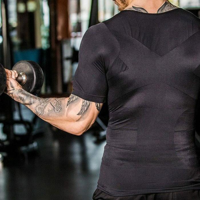 Мужская компрессионная футболка для похудения топы эластичные облегающие YS BUY