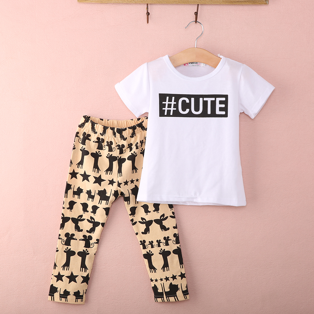 Hot Kids Toddler Girls Clothes Cute Blouse Short Sleeve O Neck Letter T Shirt Top +Long  Pants 2PCS Outfit Suit 0-5Y