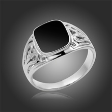 18k White Gold Plated Cut Out Pattern Inlaid Black Onyx Cocktail Ring For Men Party Costume Jewelry Size # 6.75-12.5 Wholesale(China (Mainland))