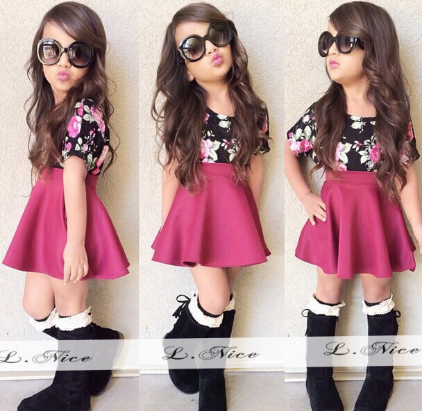 1 set Retail!2015 kids girls summer clothes Short-sleeved T-shirt + floral dress suit Girls Pretty Frsee Shipping - Panda small shops store