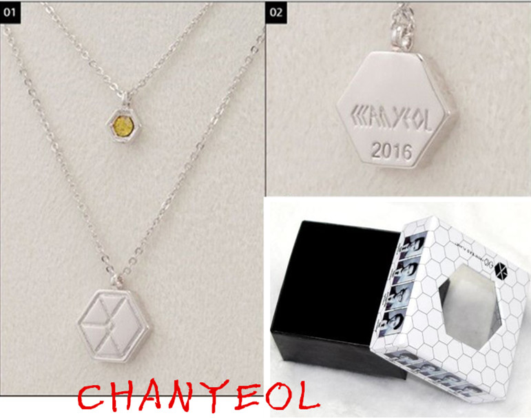 2016 New Arrival kpop Exo Necklace &Jewelry Fashion Star 9 Members Logo Necklaces Jewelry For Men Women k-pop exo-k k pop exo-m(China (Mainland))