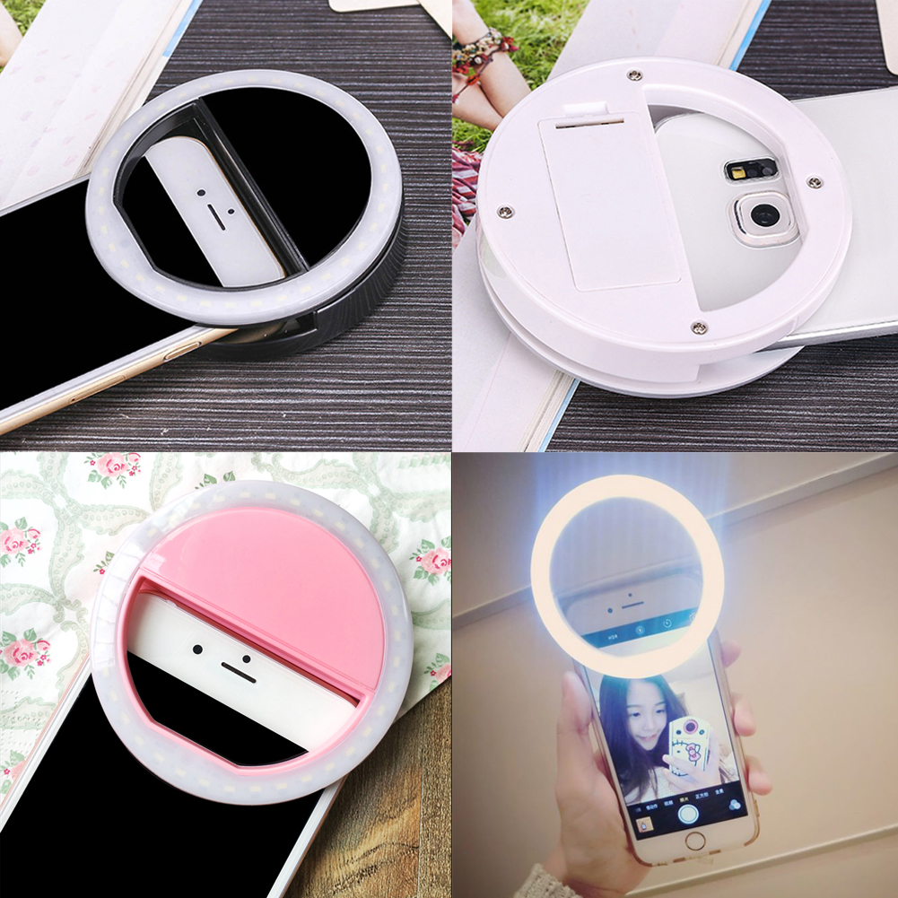 Mobile Phone LED Cover Case For iPhone 5 6S LG Samsung S6 Android Phone Adjustable Beauty Selfie Ring Bright Flash Light Camera(China (Mainland))