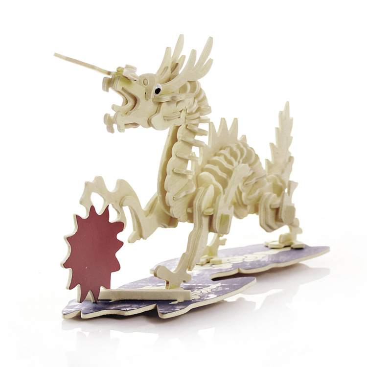 3D Simulation Model Wooden Jigsaw Puzzle Animal Dragon Children's Educational Toys 3d Wooden Puzzles For Children(China (Mainland))