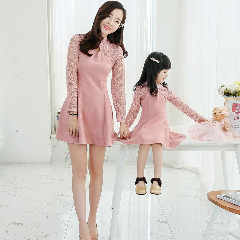 Mom and Daughter Dress Spring autumn Style Fashion long Sleeve lace Suede Patchwork dress mother and daughter cheongsam dress<br><br>Aliexpress