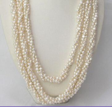 """Здесь можно купить  ddh002943 LONG 90"""" 3strands Genuine baroque white pearls necklace 28% Discount  Ювелирные изделия и часы"""