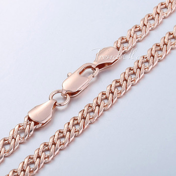 6.5/7mm 18K Rose Gold Filled Necklace Mens Chain Womens Necklace Curb Venitian chain High Quality Jewelry Jewellery gift GN107