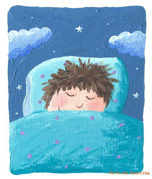 free shipping cartoon blue sheets boy sleep oil painting canvas painting prints on canvas kids room wall art decoration picture(China (Mainland))