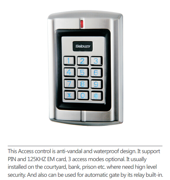 Waterproof  Metal case Keypad Standalone Access Control/EM Reader with 1200 users/RFID  Access Control<br><br>Aliexpress