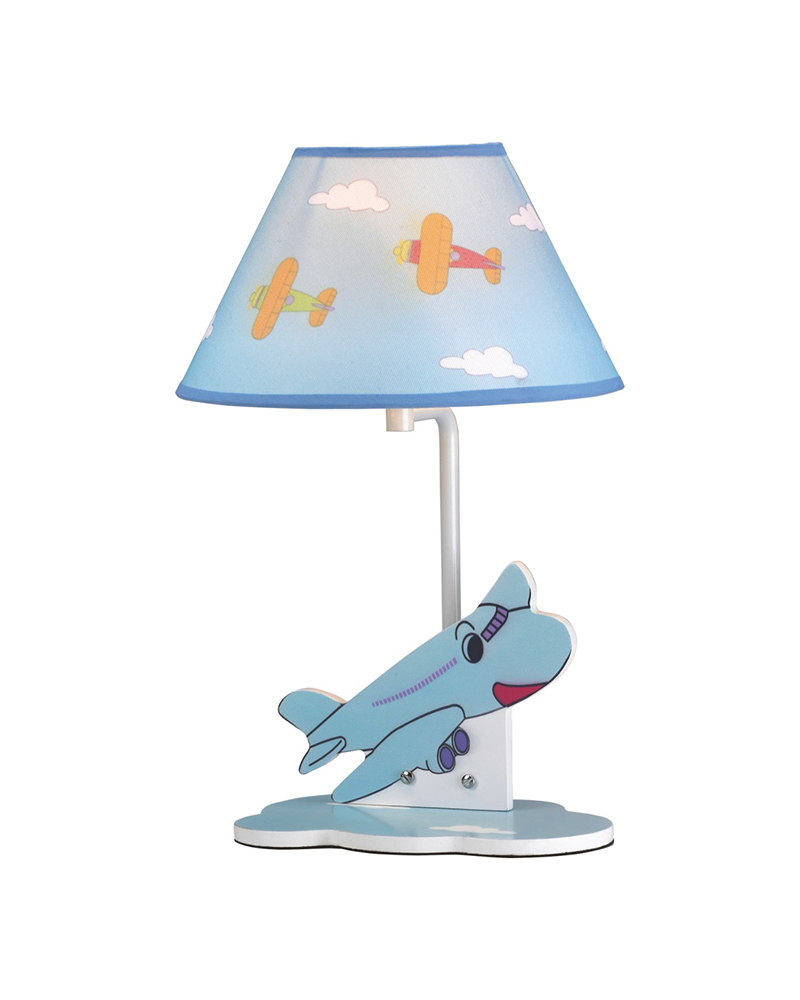 Airplane Theme Children Table Lamp with Fabric Shade Cute Cartoon LED Light for Children's Room Free Shipping MT80691C(China (Mainland))