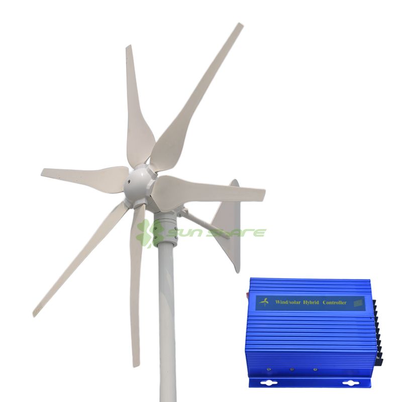 Free shipping ! MAX power 400w with 6blades ,low start wind speed ,high efficiency wind turbines +wind solar charger(China (Mainland))