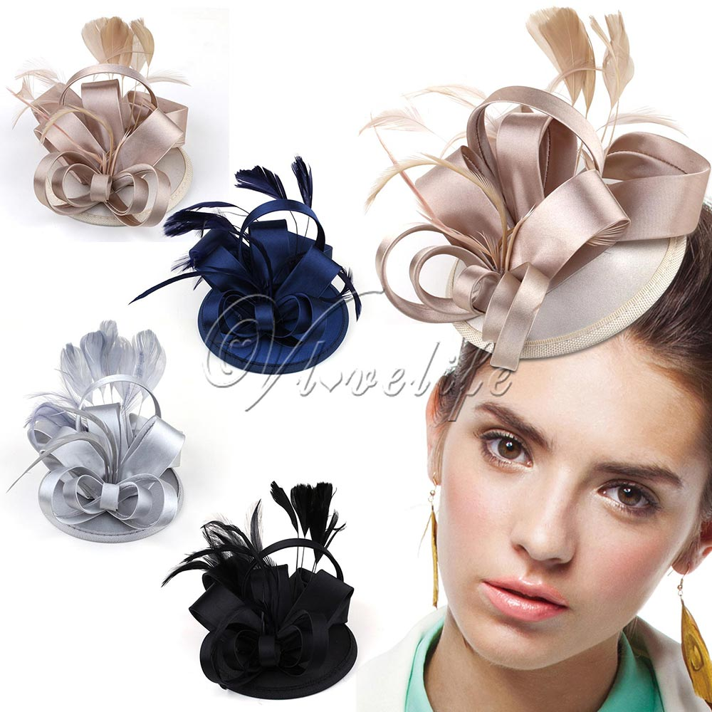 Fashion Lady Girl Vintage Satin Fascinator Feather Clip Hat Topper Party Wedding Races Hair Clip Accessories(China (Mainland))