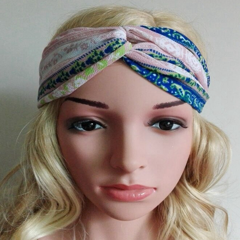2016 women's headwear Cross printing Bohemia hair band knot headwrap elastic headbands turban headband women hair accessories(China (Mainland))