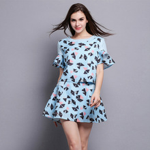 European and American trends print ruffled short sleeve tops skirt two piece sets for women 2016 summer styles