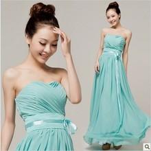 2016 Cheap New Long  Chiffon Mint Green Bridesmaids Dresses Under $50 (Light Pink Purple Red Yellow White Champagne)(China (Mainland))