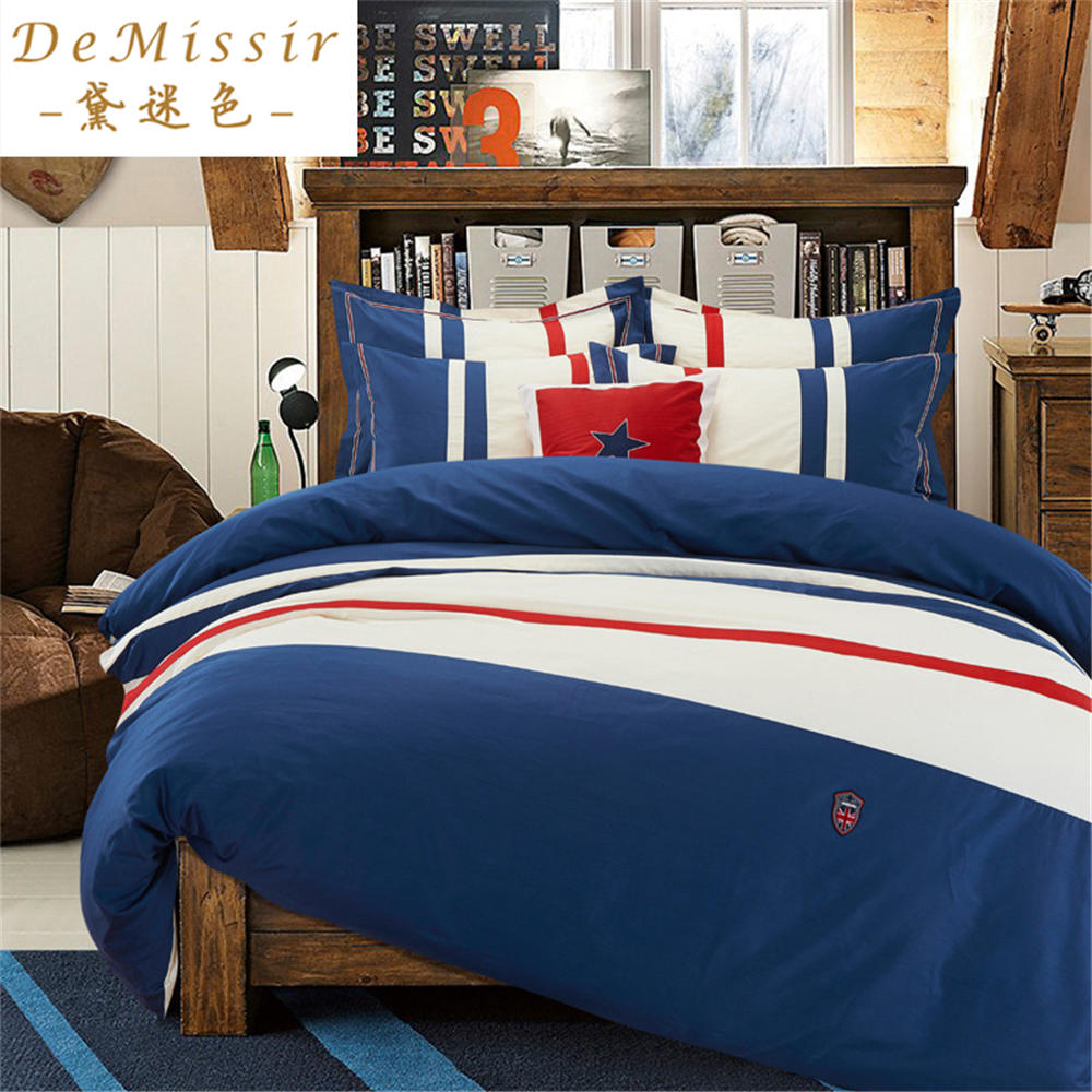 Navy blue bedding promotion shop for promotional navy blue for Housse de couette king size