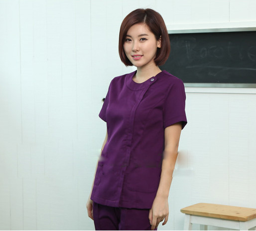 New WoMen's purple Summer Short sleeve Nurse Uniform Hospital Medical Scrub Set Clothes Short Sleeve Surgical Scrubs(China (Mainland))
