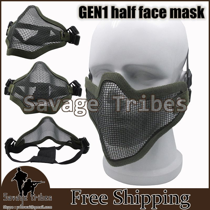 Paintball Gun Mask Half Face Metal Steel Net Mesh Hunting Tactical Protective Mask with Double Belt free shipping(China (Mainland))