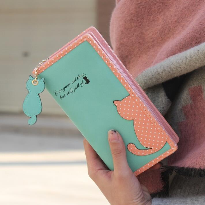 Cartoon Cat Stitching Women Wallet Polka Dot Printing PU Leather Wallets Ladies Long Clutch Bag Ms. Coin Purse Card Hodler<br><br>Aliexpress