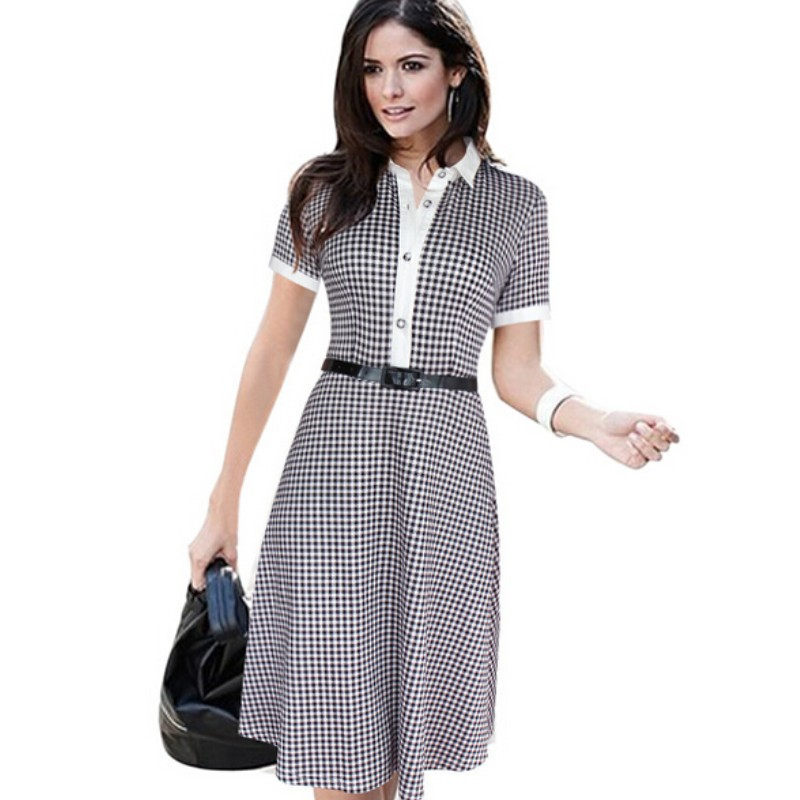 Womens Elegant Pinup Turn Collar Belted font b Tartan b font Plaid Casual Wear to Work