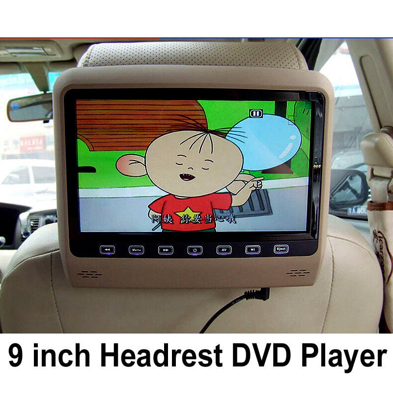 9 Inch Car Headrest Monitor With 800*480 Screen Built-in Speaker Support USB SD DVD Player Games Remote Control For Ford KIA BMW(China (Mainland))