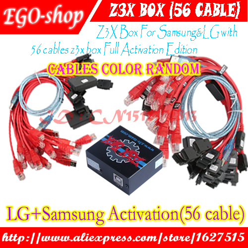 The 100% Original Z3x box For Sam&Lg Activation with 56 cable set Repair unlock flash damaged IMEI, SN, Bluetooth etc For Note4(China (Mainland))