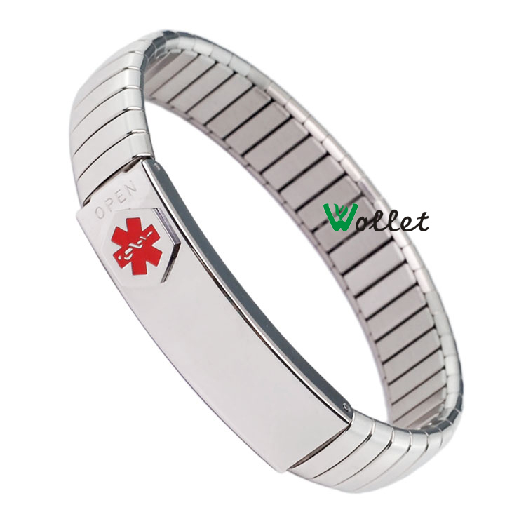 Wholesale 2015 New Fashion Men Jewelry Stainless Steel Men Bracelet Bangle Elastic 316L Stainless Steel Mens Alert id Bracelet(China (Mainland))
