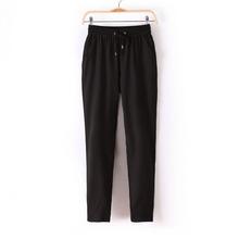 Hot Sale Casual Women Chiffon Pants Elastic Waist Solid Color Office OL Pants Summer Slim Lady Pants  AB17(China (Mainland))