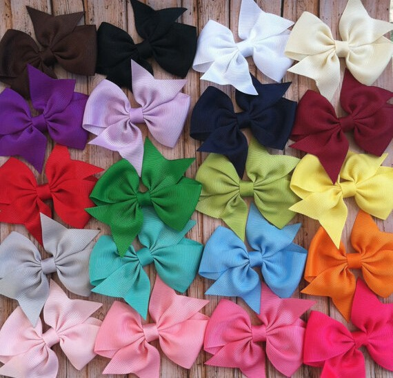 2015 Hot Sale Grosgrain Ribbon Bow Hair Clip Pin Flower Baby Girl Headdress Accessories Orange Pink Green Yellow White Black(China (Mainland))