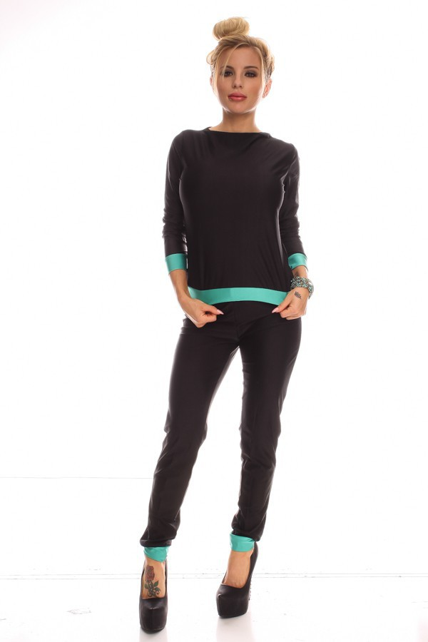 2015 New Arrival Black Long Sleeve Casual Top and Pants ...