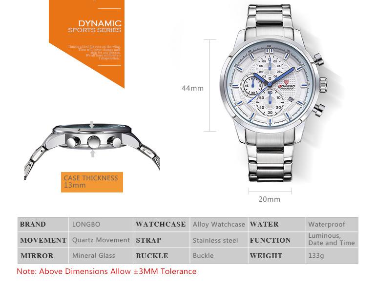 Longbo люкс мужчины марка полный стали часы кварц мужской супер Luminesecnt часы спортивные водонепроницаемый бизнес мужской часы 80181 г