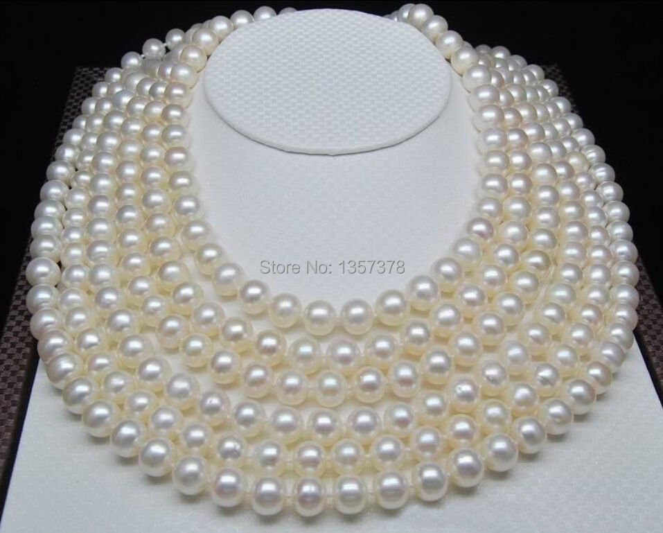 bjc 000281 Genuine Charming 9-10mm AA+ white natural pearl necklace 100 inch Gold Clasp <br><br>Aliexpress