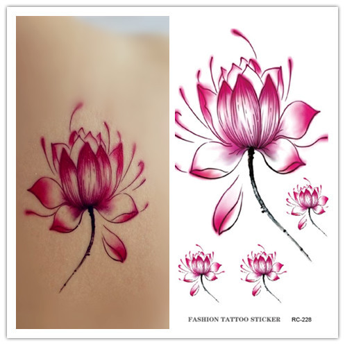 RC2228 New 2015 Waterproof Disposable Tattoo Stickers Fresh Water Lily Flower Floral Pattern Temporary Tattoo Sticker for Women(China (Mainland))