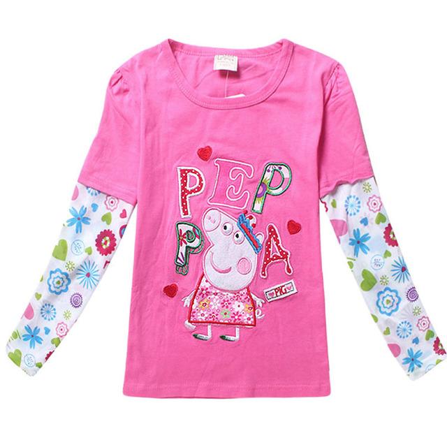 2016 новые дети девочки свободного покроя одежды весна осень хлопок полная длинным рукавом база - мультфильм Peppa Pig вершины о-образным шею тис для 2-8Child