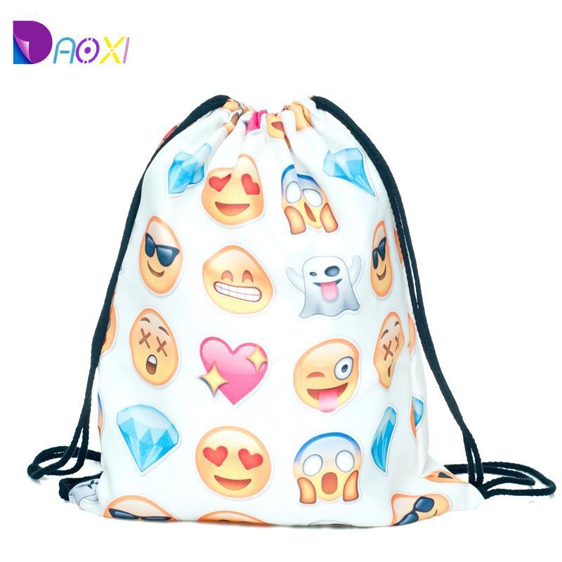 Top Quality 2015 womens daypacks printing emoji backpack for travel mochila feminina harajuku drawstring bag mens