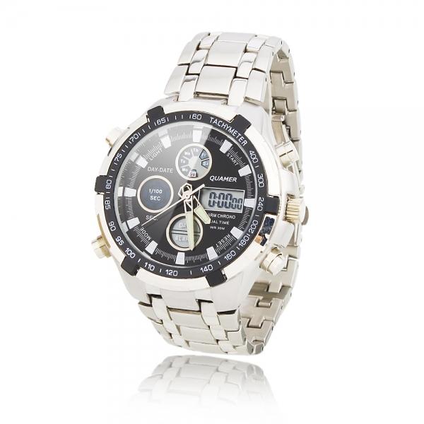 Business Men Quartz wristwatches Dual Cores Steel Band Waterproof Day Date Display Alarm LED Digital Fashion Wrist Watch men - 1000 Store store