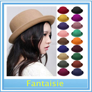 Winter 2015 Vintage Women Lady Cute Trendy Wool Felt Bowler Derby Fedora Hat Cap Hat Cap beanie cap Drop Shipping(China (Mainland))