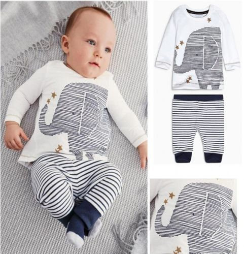 Гаджет  2015 Toddler Baby Boys Lovely Elephant Tops Striped Pants Outfit Set Clothes None Детские товары
