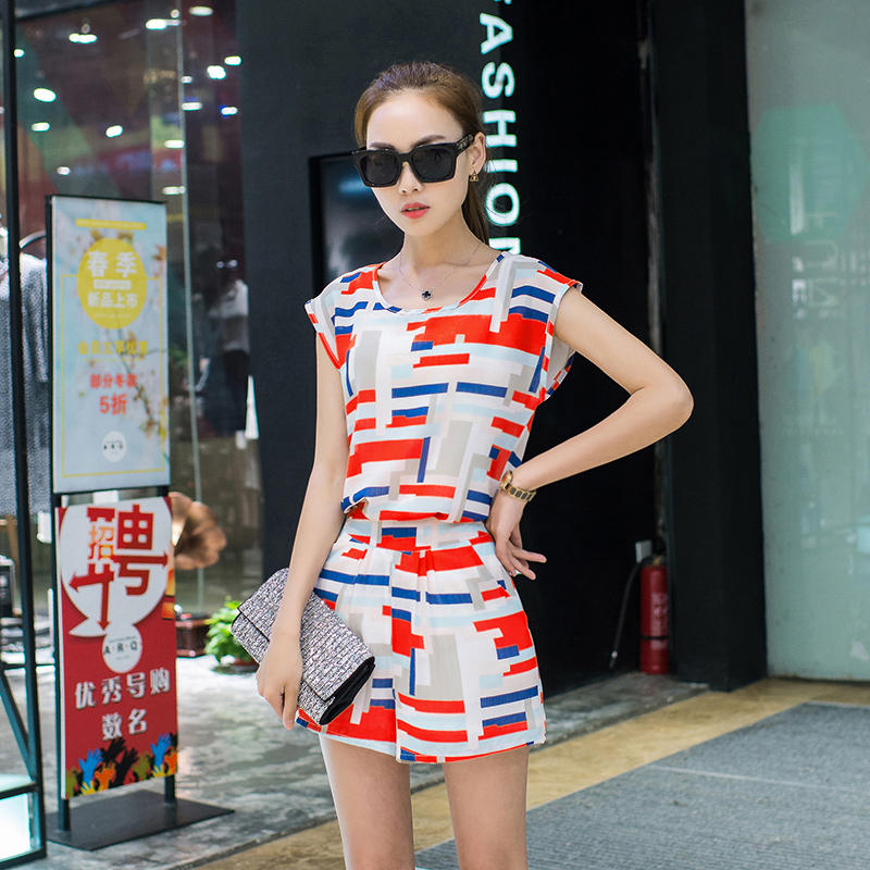 2016 Summer Refreshing 2 Piece Set Women Crop Top And Shorts Blazer And Shorts Set Women Two Piece Set Casual Household Suit(China (Mainland))