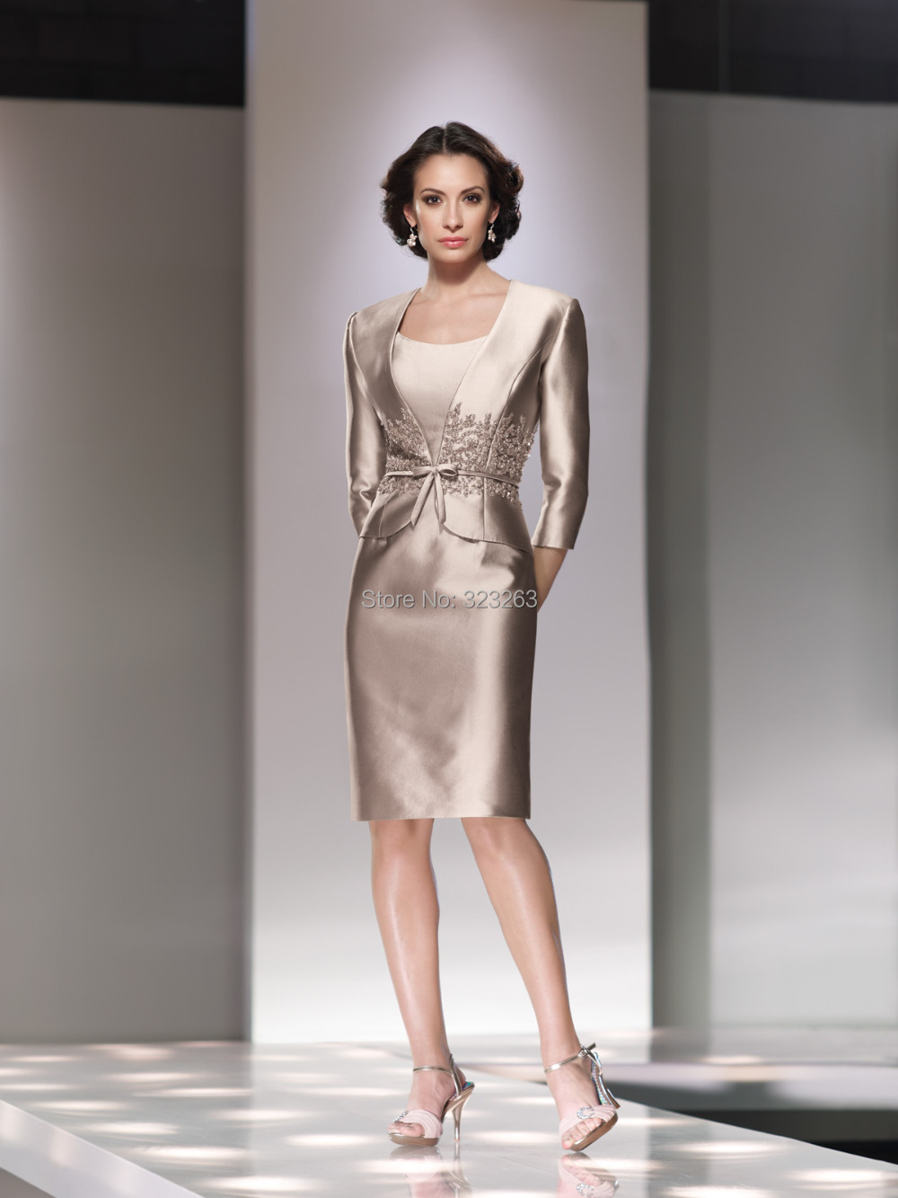 Short formal mother of the bride dresses with jacket for Mother of bride dresses for country wedding