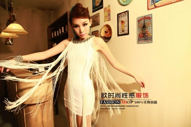 Fashion tassel 2013 one-piece dress slim hip slim one-piece dress sleeveless tank dress female tank dress